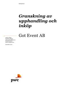 Bilaga till Got Event – Granskning av upphandling och inköp Got Event