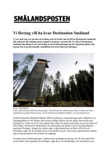 Vi företag vill ha kvar Destination Småland