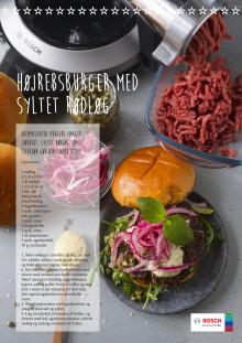 højrebsburger med syltet rødløg