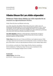 Pressmeddelande: Vibeke Olsson får Lars Ahlin-stipendiet