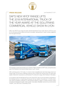 DAF'S NEW XF/CF RANGE LIFTS THE 2018 INTERNATIONAL TRUCK OF THE YEAR AWARD AT THE SOLUTRANS COMMERCIAL VEHICLE SHOW IN LYON