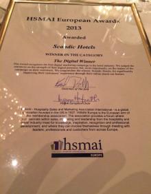 HSMAI European Awards 2013 - Scandic vinner pris för bästa digitala utcheckningstjänst