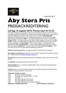 Pressackreditering Åby Stora Pris 2015