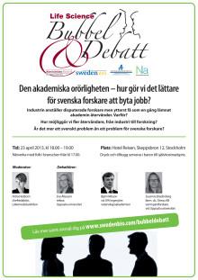 Inbjudan till Bubbel och Debatt, 23 april 2013
