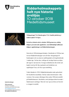 Riddarholmsskeppet: infoblad och projektbeskrivning