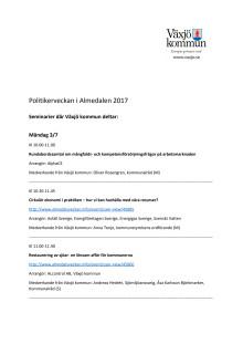 Sammanställning över de seminarier som Växjö kommuns politiker och tjänstemän medverkar i