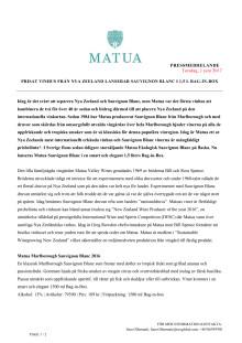 Matua Press Release