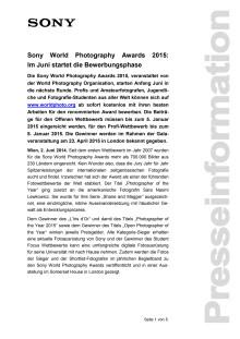 """Pressemitteilung """"Sony World Photography Awards 2015: Im Juni startet die Bewerbungsphase"""""""