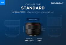 SAMYANG launcht AF 85mm F1.4 EF Autofokus Objektiv für Canon EF Vollformat Spiegelreflex Kameras