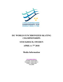 Media information, ISU World Synchronized Skating Championships