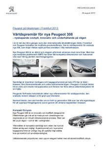 Världspremiär för nya Peugeot 308
