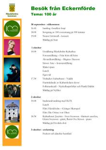 Program för Eckernfördes vänortsbesök i Hässleholm 30 sep - 3 okt