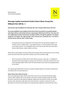 Nouvago Capital investment Perfect Storm Music Group hits Billboard Hot 100 No. 1