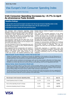 Visa Europe's Irish Consumer Spending Index - 9th May 2016