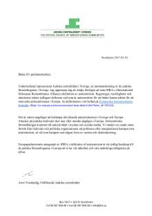 Brev från Judiska centralrådet till svenska EU-parlamentariker