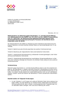 Stellungnahme der Felix Burda Stiftung und des Netzwerk gegen Darmkrebs zum Abschlussbericht des IQWiG vom 29.5.2013