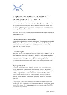 Etäpesäkkein levinnyt rintasyöpä – ohjeita potilaille ja omaisille – Fakta om spridd bröstcancer på finska