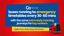 Emergency timetables for Go North East buses from Saturday 28 March due to the Coronavirus crisis