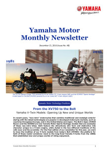 Yamaha Motor Monthly Newsletter No.48(Dec.2016) : From the XV750 to the Bolt