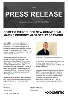 Dometic Introduces New Commercial Marine Product Manager at Seawork