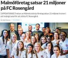 Sydsvenskan skriver om vårt ökade engagemang i FC Rosengård