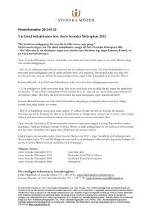 Vår Gård Saltsjöbaden blev Årets Svenska Mötesplats 2012