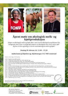 Program åpent møte om økologisk melk og kjøtt 28. februar