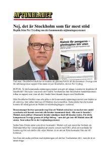 Nej, det är Stockholm som får mest stöd