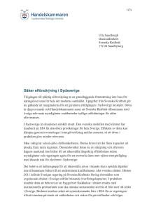 Brev till Svenska Kraftnät angående säker elförsörjning i Sydsverige