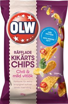 Hälsotrenden bland snacks fortsätter  – nya kikärtschips med chili och mild vitlök från OLW