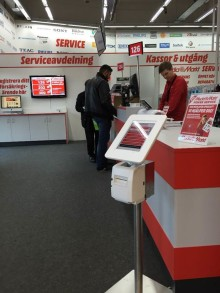 MediaMarkt i Barkaby använder Q-channel´s tjänster Queue-cloud, Image Media Channel samt HappyCustomer.