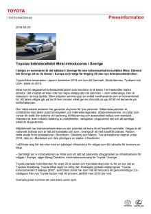 Toyotas bränslecellsbil Mirai introduceras i Sverige