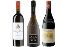 Tre tillfälliga lanseringar - Château La Nerthe Rouge 2007, Quadrille de Langlois Extra Brut 2012 & Chateau Musar 2001