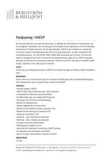Fördjupning i HACCP