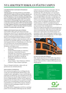 Faktablad Arkitekturskolan, KTH Campus