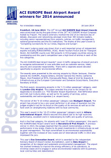 Pressemelding fra ACI Europe (engelsk)