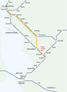 Banarbete mellan Teckomatorp och Kävlinge (Kävlingebanan) 29 juni-6 augusti. Pågatågen går på andra banor eller ersätts med buss