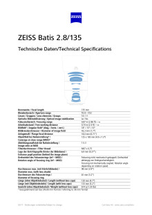 Zeiss Batis 135mm F/2,8, specification sheet