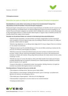 Till Energikommissionen: Biokraften kan spela en viktig roll i ett framtida 100 procent förnybart energisystem