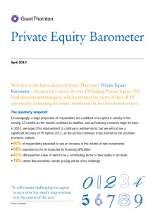 Grant Thornton UK: Private Equity Barometer April 2010