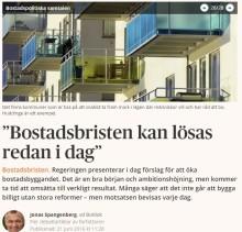 """""""Bostadsbristen kan lösas redan i dag"""" – debattartikel i Dagens Samhälle"""