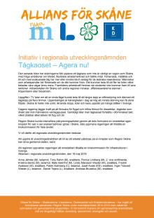 Initiativ från Alliansen i Skånes regionala utvecklingsnämnd mot tågkaoset