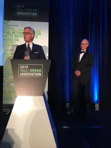 """thyssenkrupps MULTI vinner Innovation Award vid Tall + Urban Innovation Conference - och tillhör de 100 """"Landmärken 2018"""" i Tyskland"""