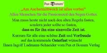"""Pax et Bonum Verlag """"Am Aschermittwoch ist alles vorbei"""""""