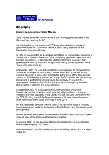 Biography - Deputy Commissioner Craig Mackey