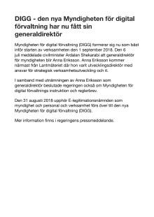 DIGG - den nya Myndigheten för digital förvaltning har nu fått sin generaldirektör