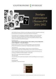 Välkommen till presentationen av Sveriges representant i Bocuse d´Or 2014/2015