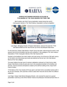 Karpaz Gate Marina Receives Accolade in TYHA Marina of the Year Awards for Third Time