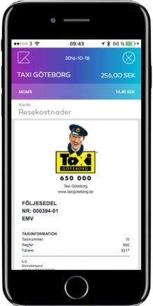Taxi Göteborg och Kwick digitaliserar kvittot