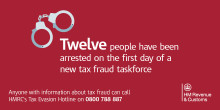 12 arrested as part of a new clampdown to tackle tax fraud